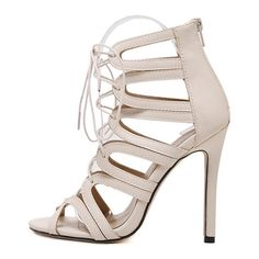 Hollow Out Stiletto Heel Lace-Up Sandals ($99) ❤ liked on Polyvore featuring shoes, sandals, heels stilettos, high heel stilettos, lace up stilettos, stiletto heel shoes and laced sandals