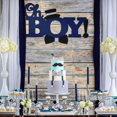 Dessert Table Details from a Little Man Baby Shower via Kara's Party Ideas KarasPartyIdeas.com (7)