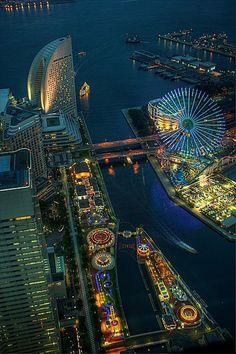 Aerial view of Cosmo World, Yokohama, Japan