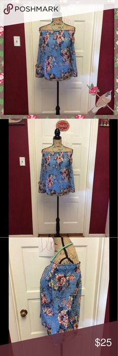 NWT floral lace off shoulder blouse So pretty has lining but sheer on arms Lily White Tops Blouses