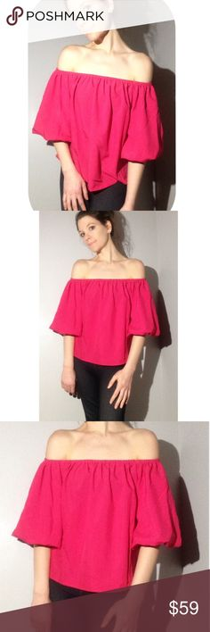 🔴1 Hour Sale 🔴✨ off the Shoulder Blouse The Hailey Hot Pink Off the Shoulder Party Blouse. Super Pretty and Preppy! Love this top, and super comfortable polyester. Unique style Blossom Sleeves . valentine's day gift for mother daughter sister friend bridal Shower birthday gift romantic get away vacation outfit runway style Love hot career beautiful luxury style rich trendsetter model gorgeous Cropped fitted Size Medium (fits between 6-10) Tops