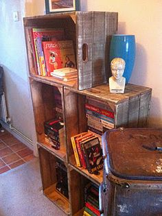 Crates to bookcase.