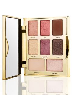A portable eyeshadow palette with 8 limited-edition BOSS shades to motivate & inspire your inner glam-getter.  this is it (rose gold) all in (deep rose) go for it (brown) you can (gold) happening (plum) hustle (black luster) ambitious (cream) risk taker (pale pink shimmer)