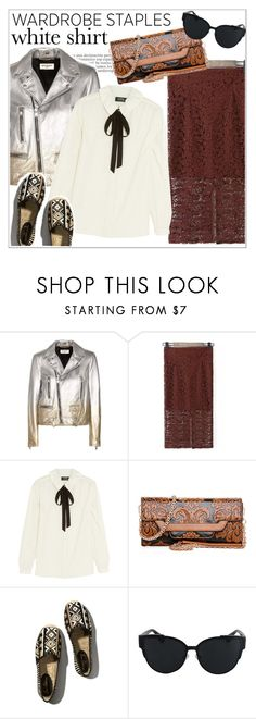 """Wardrobe Staples: The White Shirt"" by teoecar ❤ liked on Polyvore featuring Yves Saint Laurent, A.P.C., Abercrombie & Fitch and WardrobeStaples"