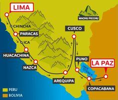 LIMA – PARACAS – HUACACHINA – NAZCA – AREQUIPA – CUSCO – PUNO – COPACABANA – LA PAZ