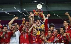 Pique (fourth right) celebrates Spain's win in the Euro 2012 final against Italy in Ukraine