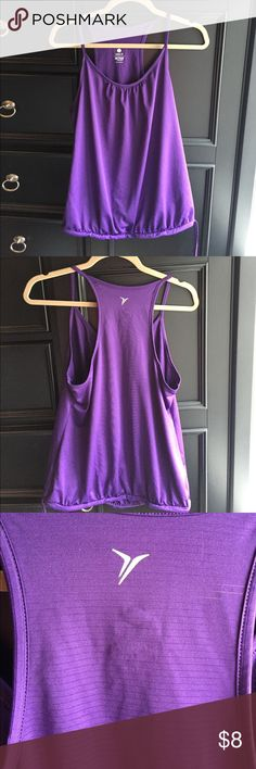 Old Navy purple active tank Cute lightweight purple tank top. Perfect for working out. Adjustable bottom hem with tie. Relaxed style. Old Navy Tops Tank Tops