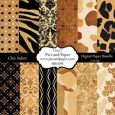 Digital  Scrapbooking  paper Animal Print Safari by PicsandPaper, $4.00