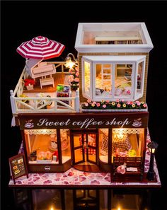 1:24 DIY Miniature Wood Dollhouse kits with all furnitures & light & Dust cover #Dollhouses