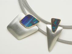 2 pendants: boulder opals, silver, 18ct gold