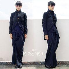 COMME-DES-GARCONS-Robe-de-Chambre-Boiled-Polyester-Tuxedo-Cutaway-Coat-Sz-L