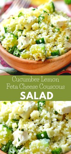 Cucumber Lemon Feta Cheese Couscous Salad is a very refreshing , flavorful salad with a bright flavor. This is the kind of salad that will go perfectly with just about anything your making on the grill for dinner. #salad #dinner #couscoussalad