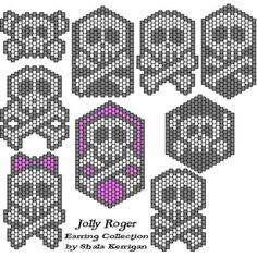 Skull /Jolly Roger seed bead earring patterns