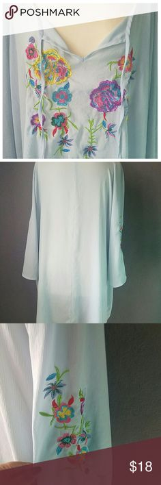 Embroidered Blue plus size Top Beautiful plus size top. Embroidered front and sleeves sides. String closure on top. Sheer with no lining.  Light blue. Perfect for summer.  See pictures for better description. Any questions let me know. Bundle to save. No trades. I accept REASONABLE offers. Signature Collection Tops Blouses
