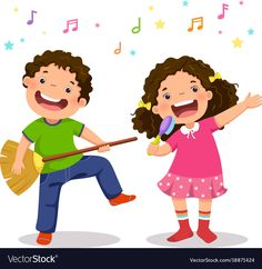 Illustration about Creative boy playing virtual guitar with broom and girl singing with hairbrush. Illustration of happiness, imagination, creative - 94250972 Happy Children's Day, Happy Kids, Cartoon Drawings, Cute Drawings, Drawing For Kids, Art For Kids, Guitar Clipart, Classroom Walls, Cartoon People