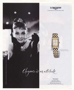 Longines DolceVita Watch Audrey Hepburn Photo (2001) - Longines DolceVita Watch http://www.chrono24.com/en/longines/dolcevita-diamond-stainless-steel-and-rose-gold-ladies-watch-l51555797--id2091730.htm