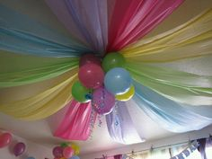 Use plastic tablecloths on the ceiling