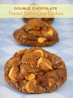 Double Chocolate Peanut Butter Chip Cookies Thick chewy cookies packed with chocolate chips and peanut butter chips!