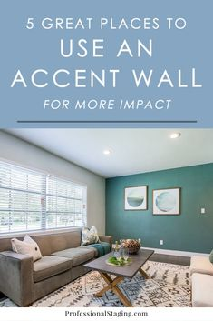 5 Great Places to Use an Accent Wall – MHM Professional Staging 5 Great Places to Use an Accent Wall – Professional Staging Blue Accent Walls, Accent Wall Colors, Accent Walls In Living Room, Accent Wall Bedroom, Painting An Accent Wall, Painted Accent Walls, Accent Wall In Kitchen, Accent Wall Decor, Master Bedroom