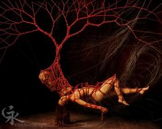 """The erotic art of Sydney Australia based Garth Knight entails a series of six suspended 'trees' ( in order: first, blue,heart, man, lost, and red) all which are made out of rocks and ropes. Each individual """"tree"""" is created over one or two naked bodies, often posing in very sensual positions. If the 'trees' are observed in order, they create a linear narrative- one that tells, through stunning and innovative imagery, the story of human existence."""