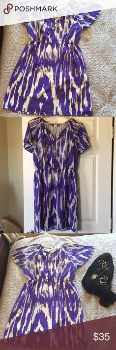 M- JCREW Purple and white dress Purple and White dress with elastic waist  100% polyester J Crew Dresses Midi