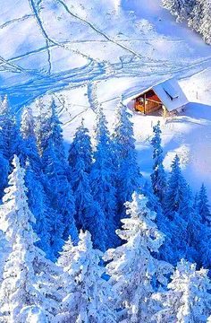 Photo: Cabin in the snow I Love Snow, I Love Winter, Winter Snow, Winter Christmas, Winter Schnee, Snow Pictures, Winter Magic, Snowy Day, Snow Scenes