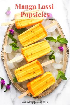 Do you love mango lassi? You are in a treat with these easy homemade mango lassi popsicles with just 2 main ingredients, yogurt and mangoes! Try them today. #ministryofcurry #mangopopsicles Fresh Strawberry Recipes, Mango Recipes, Curry Recipes, Vitamix Recipes, Dairy Free Greek Yogurt, Full Fat Yogurt, Mango Jam, Mango Lassi, Healthy Indian Recipes