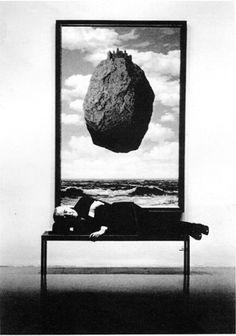 Rene Magritte, Asleep on Bench, MOMA, New York, 1963, by Steve Schapiro