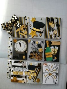 New Years Pocket Letter by yvonne cunningham. Project Life Scrapbook, Project Life Cards, Baby Scrapbook, Scrapbook Paper Crafts, Atc Cards, Journal Cards, Pocket Craft, Pocket Pal, Pocket Scrapbooking
