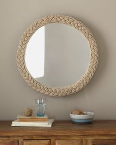 Braided Jute Mirror - Garnet Hill #nautical........ I could use fat rope and decorate with shells etc.