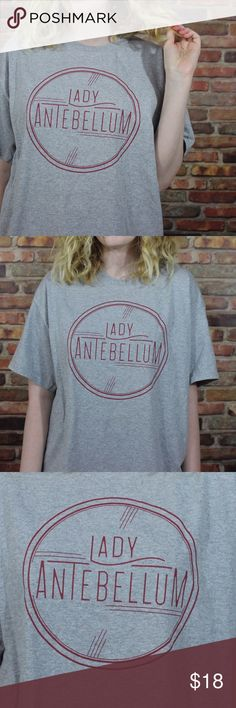 Lady Antebellum Tee Awesome Lady Antebellum t shirt. Size large. Fits oversized. I'm a medium for fit reference. Gray with maroon design. Make an offer or bundle to save 30%! Tops Tees - Short Sleeve