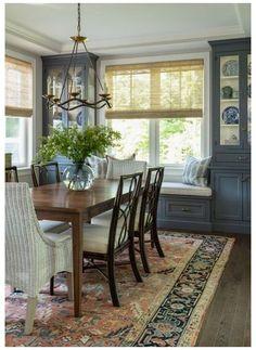 Corner Cabinet Dining Room, Dining Room Windows, Dining Room Blue, Dining Room Design, Cabinets In Dining Room, Built In Dining Room Seating, Dining Corner, Antique Dining Rooms, Country Dining Rooms
