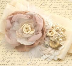 Bridal Sash- Wedding Sash in Blush Pink, Nude, Champagne, Gold and Ivory with Lace, Feathers and Vintage Details