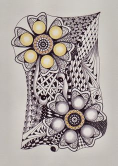 two flowers anchor zentangle...