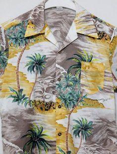 02a9cca4e Vintage Hang Ten Hawaiian Palm Tree Tropical Surf Shirt XL | Clothing,  Shoes &