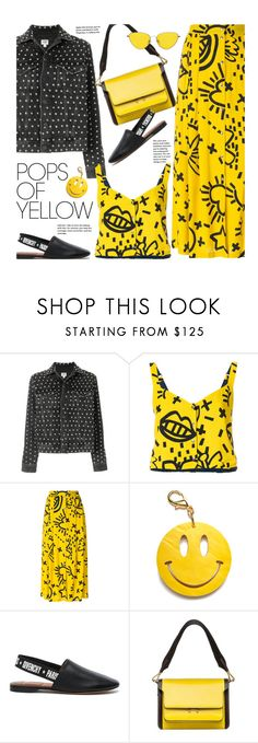 """""""Get Happy: Pops of Yellow"""" by beebeely-look ❤ liked on Polyvore featuring Citizens of Humanity, Roseanna, Edie Parker, Givenchy, Marni, casual, streetwear, PopsOfYellow, spring2018 and NYFWYellow"""