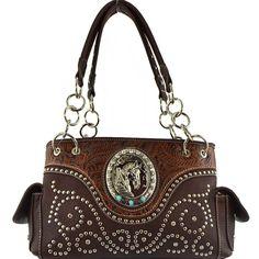 Horsehead Collection Studded Concealed Western Handbag – Handbag-Addict.com