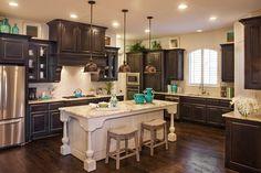 Highland Homes Top Custom Home Builder Texas Austin Dallas-Fort Worth Houston San Antonio Brown Kitchens, Home Kitchens, Kitchens With Dark Cabinets, White Cabinets, Kitchen Design, Kitchen Decor, Kitchen Tile, Kitchen Ideas, Kitchen Island