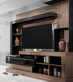 Surround unit basement home living room morn wall mounted tv sur Tv Unit Decor, Tv Wall Decor, Tv Cabinet Design, Tv Wall Design, Tv Unit Furniture, Furniture Design, Tv Wanddekor, Modern Tv Wall Units, Living Room Tv Unit Designs