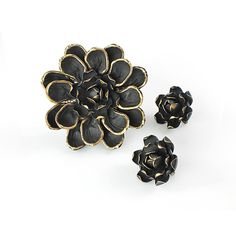 Black enamel Flower power Brooch set, Black Gold Magnolia Vendome... ($45) ❤ liked on Polyvore featuring jewelry, mod jewelry, enamel gold jewelry, gold jewellery, gold jewelry and enamel jewelry