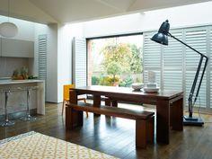 Stylish Interior Shutters - modern - dining room - other metro - Weatherwell Elite - Aluminum Shutters Modern Shutters, Wooden Window Shutters, White Shutters, Interior Shutters, Homemade Shutters, Kitchen Shutters, Shutter Doors, Shabby Chic Interiors, Home