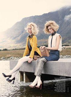 'Twin Peaks' Melissa Johannsen & Emilia Skuza by Nicole Bentley for Vogue Australia, July 2011 Fashion Shoot, Look Fashion, Retro Fashion, Editorial Fashion, Fashion Beauty, Vogue Editorial, Ladies Fashion, Fall Fashion, Fashion Ideas