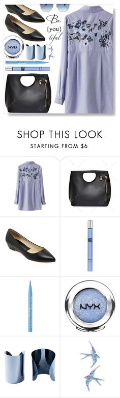 """""""Beautiful"""" by simona-altobelli ❤ liked on Polyvore featuring Thierry Mugler, Too Faced Cosmetics, NYX, Maison Margiela, Topshop, Christian Dior, beautiful, Blue, MyStyle and shirtdress"""