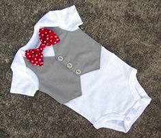 Baby Shirt - Custom Tuxedo Onesie or Tshirt Polka Dot Bow tie - SS Version. $24.00, via Etsy.