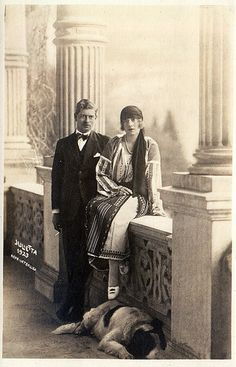 Son of Queen Marie of Romania (previously Princess Marie of Edinburgh) Crown Prince Carol of Romania with his fiance Princess Helena of Greece with a dog. Romanian Royal Family, Greek Royalty, Casa Real, Men With Street Style, Blue Bloods, Royal House, Kaiser, Queen Victoria, World History