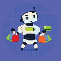 Cute Robot Hold Credit Card Mobile Payment Online Shopping Modern Artificial Intelligence Technology Concept vector art illustration