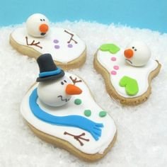 Melting Snowman Cookies  recipe and instructions here  http://thedecoratedcookie.com/2008/12/im-melting-melting