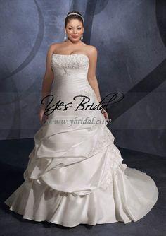 A-line Strapless Cathedral Train Taffeta Plus Size Wedding Dress