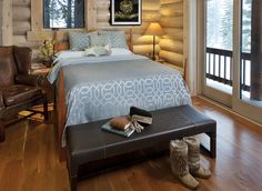 Sierra Cabin master bedroom designed by Audrey Brandt Interiors