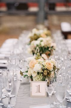 #table-numbers, #tablescapes, #centerpiece  Photography: Braedon Photography - braedonphotography.com  Read More: http://www.stylemepretty.com/2014/05/29/rustic-pastel-affair-at-ojai-valley-inn-spa/